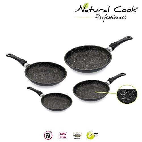 Lot de 4 Poêles 20 / 24 / 28 / 32 cm en pierre granité et céramique - tous feux dont induction - Natural Cook Professionnel