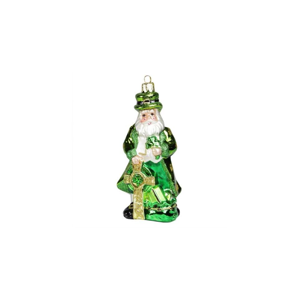 5.25 Noble Gems Luck of the Irish Green Leprechaun Santa Glass Christmas Ornament