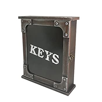 Vintage Wall Mount Key Holder - DreamsEden Rustic Key Cover Cabinet with 6 Hooks for Home Office Decoration (Upgraded Black)