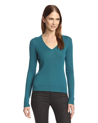 Cashmere Addiction Women's V-Neck Sweater  [Teal]