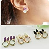 CosmoCow JC-E2069 Earrings, Purple Cut Smaill Cute Rabbit Shape Animal Earrings