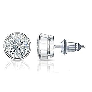 IGI Certified 14k White Gold Bezel-set Round Diamond Stud Earrings (1 3/4 ct, G-H, VS2-SI1)