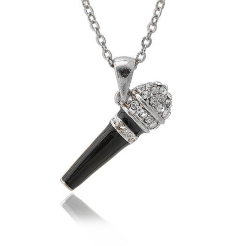 Silver Plated Crystal Black Karaoke Microphone Necklace (Silver Plated)