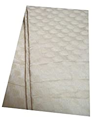 Brocade unstitched Fabric by JDK NOVELTY - Cream base small leaf design fabric (A-15_1M) One meter long