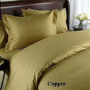 Egyptian Cotton 400 Thread Count Sateen Stripe 4 Pc Comforter Set - Copper Queen