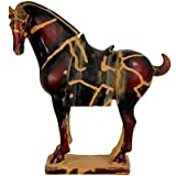 "13"" Chinese Tang Tomb Horse Statue in Dark Burgundy"