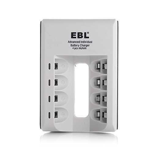 Ebl® 807 Led Rapid 4 Bay Individual Smart Battery Charger For Aa Aaa Ni-Mh Ni-Cd Rechargeable Batteries