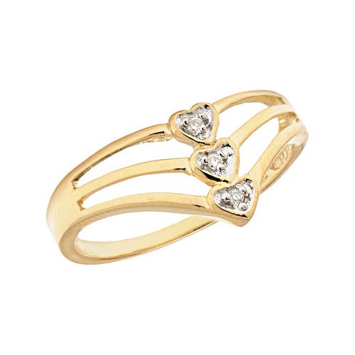 14K Yellow Gold Diamond Heart Ring (Size 10.5)