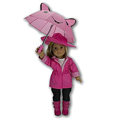 Doll Clothes for American Girl Dolls: 6 Piece Rain Outfit - Includes Rain Jacket, Umbrella, Boots, Hat, Pants, and Shirt from Ride Along Dolly