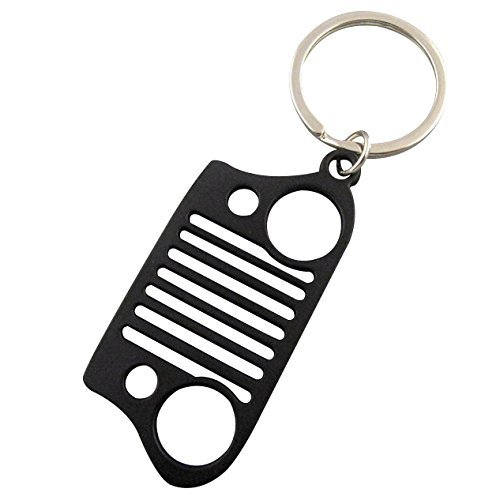 Jeep Grill Key Chain, Stainless Steel KeyChain Car Key KeyRing CJ JK TJ YJ XJ ,Color Black (Cherokee Accesories compare prices)
