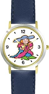 Little Girl Playing Dressup or Dress Up - WATCHBUDDY® DELUXE TWO-TONE THEME WATCH - Arabic Numbers - Blue Leather Strap-Size-Children's Size-Small ( Boy's Size & Girl's Size )