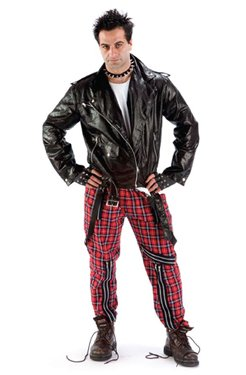 British 1980s Punk Tartan Bondage Extra Large Trousers for men