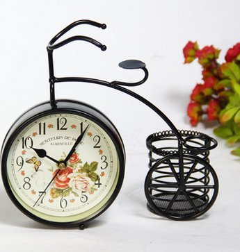 BABAN Creative Alarm Clock With Brush Pot Bicycle Shape Retro Alarm Clock Classic Small Round Silent 1