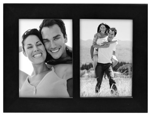 Malden International Designs Linear Wood Picture Frame 3.5 by 5-inch, Black Split Double