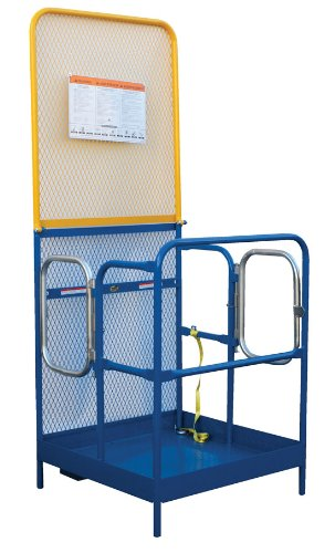 "Beacon Work Platform; Platform Size (Wxl): 36"" X 48""; Fork Pocket Ctr.: 16""; Capacity (Lbs): 1,000; Expanded Metal Back: 84""; Handrail Height: 42""H W/21"" Midrail; Entry: Side Dual Door; Model# Bwp-3648-84B-Dd"