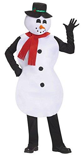 Fun World Costumes Men's Adult Jolly Snowman Costume, White/Black, One Size