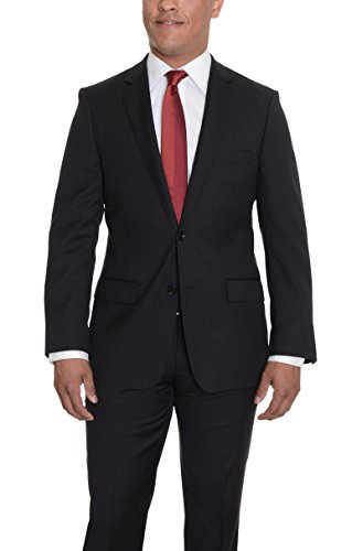DKNY-Slim-Fit-Black-Double-Pinstriped-Two-Button-Wool-Suit