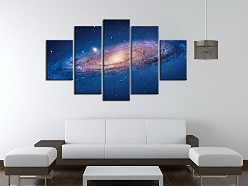 5 Panel Modern Abstract Wall Art Dark Universe Photo Canvas Prints Galaxy Colorful Space Star Canvas Oil Painting for Bedroom Decor No Frame (Universe Pictures compare prices)