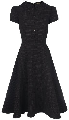 Lindy Bop 'Rhonda' Vintage Victorian Style Black Polka Dot Peter Pan Collar Tea Dress (12, Black)