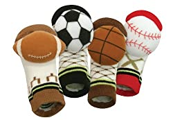 Stephan Baby Non-Skid Rattle Socks Gift Set, Sports Fun, 6-12 Months, 4 Piece