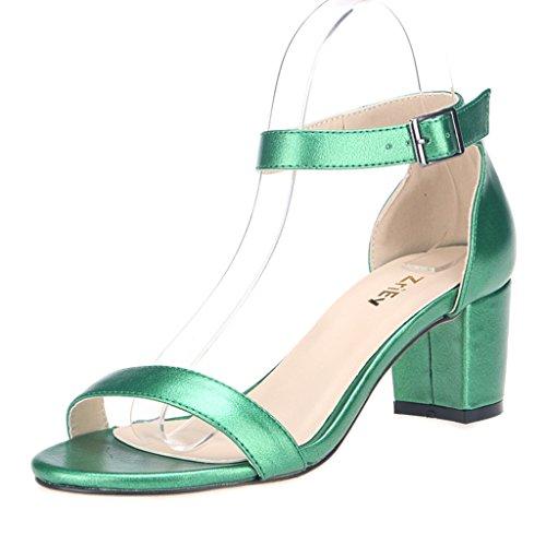 ZriEy Women's Fashion Buckle Mid Chunky Heel Sandals Grass Green size 7.5