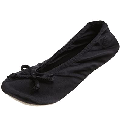 Isotoner Women's Signature  Classic Satin Slipper, Black, Small (5-6 M US)