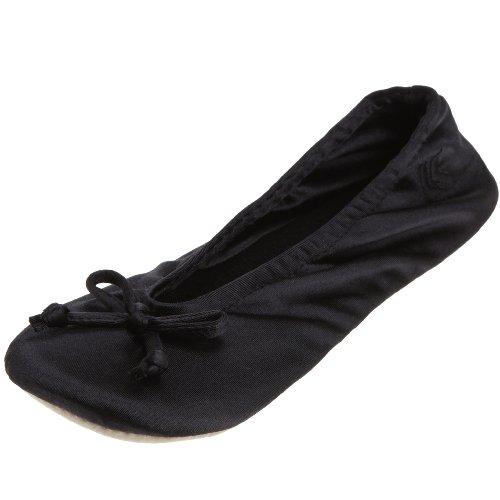 isotoner-womens-classic-satin-ballerina-slipper-large-black