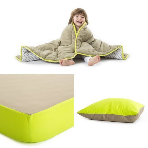 Baby Deedee Toddler Bedding Set, Khaki/Lime - 1