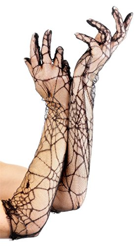Fever Women's Lace Gloves 53Cm 21 Inches with Spiderwebs In Display Pack, Black, One Size