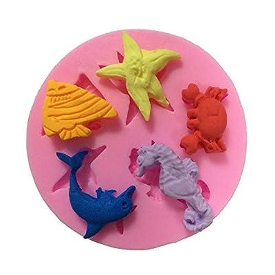 Yunko Dolphins Crab Starfish Hippocampus Mini Mold Silicone Chocolate Fondant Candy Mold DIY Cake Decorating