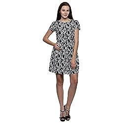 PRAKUM Women's Chiffon Regular Fit Dress Black White (Medium)
