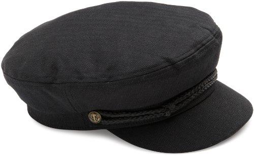 45228e28 Brixton Men's Fiddler Classic Greek Fisherman's Sytle Hat, Black  Herringbone Twill, ...