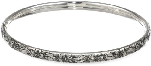 Sterling Silver Polished Guard and Hinge Bracelet with Floral Pattern and Antique Finish