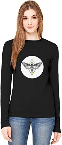 Butterfly in The Flowers Texture T-Shirt da Donna a Maniche Lunghe Long-Sleeve T-shirt For Women| 100% Premium Cotton| DTG Printing| X-Large