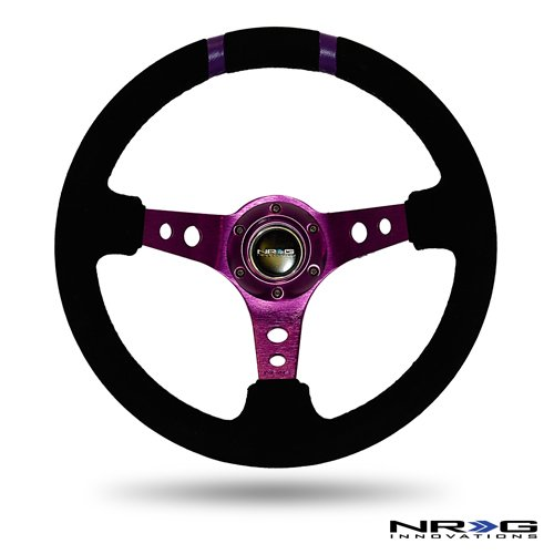 NRG Steering Wheel - 16 (Deep Dish) - 350mm (13.78 inches) - Black Suede with Purple Spokes / Purple Double Center Markings - Part # ST-016S-PP (Nrg Steering Wheels Purple compare prices)