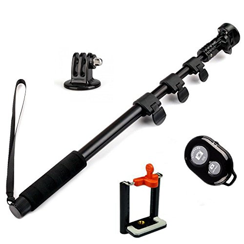 Amababa(Tm)48 Inch High Grade Heavy Duty Extendable Handheld Monopod Selfie Stick+Tripod Mount Adapter+Mobile Phone Tripod Mount Adapter Bundle+Bluetooth Remote Camera Shutter Release Control For Gopro Hero 1/2/3/3+ Digital Camera And Cellphone(Up To 85Mm