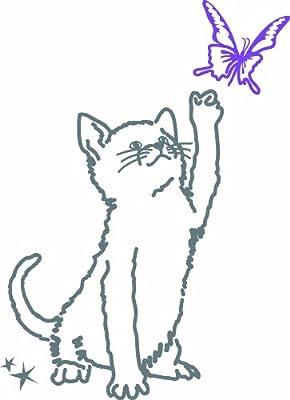 ミミ・ルゥ 子猫と蝶 グレイ&パープル ART0016