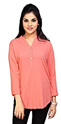 Carrel Brand Imported Cotton Fabric Solid 3/4 Sleeve Top with Button Peach Colour Women XL Size.