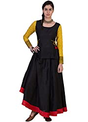 ANS by Astha and Sidharth's Black Skirt With Red Border Black Top With Tie Ups And Printed Sleeves