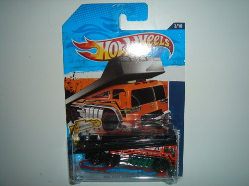 2011 Hot Wheels HW City Works Back Slider Orange/Black on 2 Car Bands Included Card #173/244