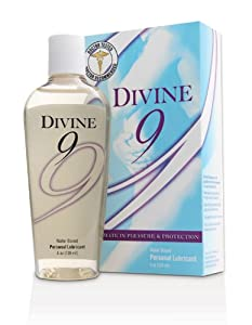 Divine 9 Water-based Personal Lubricant with Carrageenan (4 Oz) - The Ultimate in Pleasure & Protection