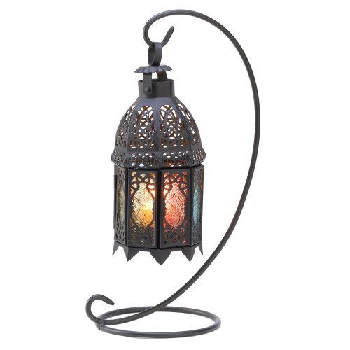 B008YQ563I Gifts & Decor Rainbow Moroccan Ornate Candle Holder Lantern Stand