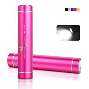 EC Technology® 2600mAh Mini Power Bank Lipstick-Sized Portable External Battery Charger for iPhone 6 Plus 5S 5C 5 4S, iPad Mini, Samsung Galaxy S5 S4 Note, Nexus, LG, HTC, Nokia, more Phones and Tablets - Cherry