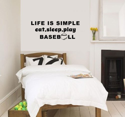 Eat Sleep Play Baseball Wall Quote For Boys Kid'S Room Wall Decor Decal Vinyl Lettering Dorm Bedroom Wall Saying Tattoo Baseball Fans Gift (Black) front-739141