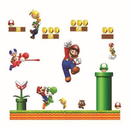 Giant Super Mario Bors Decal For Kid'S Playroom Wall Decor Removable Boy'S Room Wall Art Mario Yoshi And Friends Sticker front-608024