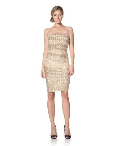 Badgley Mischka Women's Strapless Sequined Cocktail Dress