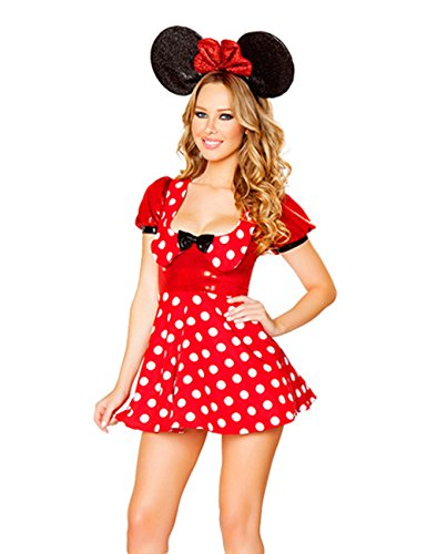 Miligirls Womens' Cartoon Mouse Cosplay Halloween Adult Costume with Accessories