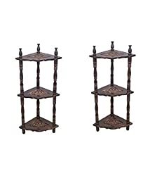 Crafts A to Z Mini Wooden Corner Rack Side Table Home Decor Carved End Table Furniture Shelves - Pack of 2