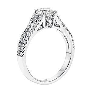 IGI Certified 14k white-gold Round Cut Diamond Engagement Ring (0.94 cttw, K Color, SI1 Clarity)