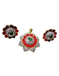 Poddar Jewels Cubic Zirconia Red Meena Pendant Set